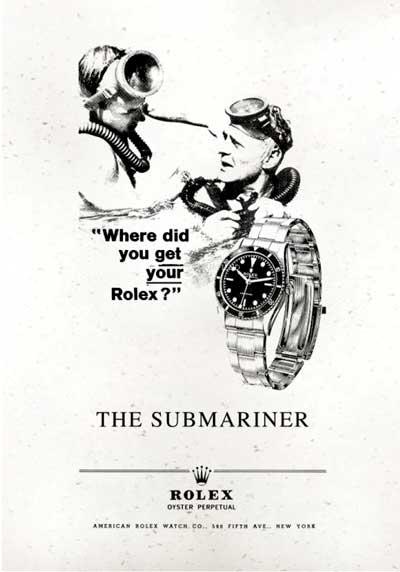 Advertentie van de Rolex Submariner